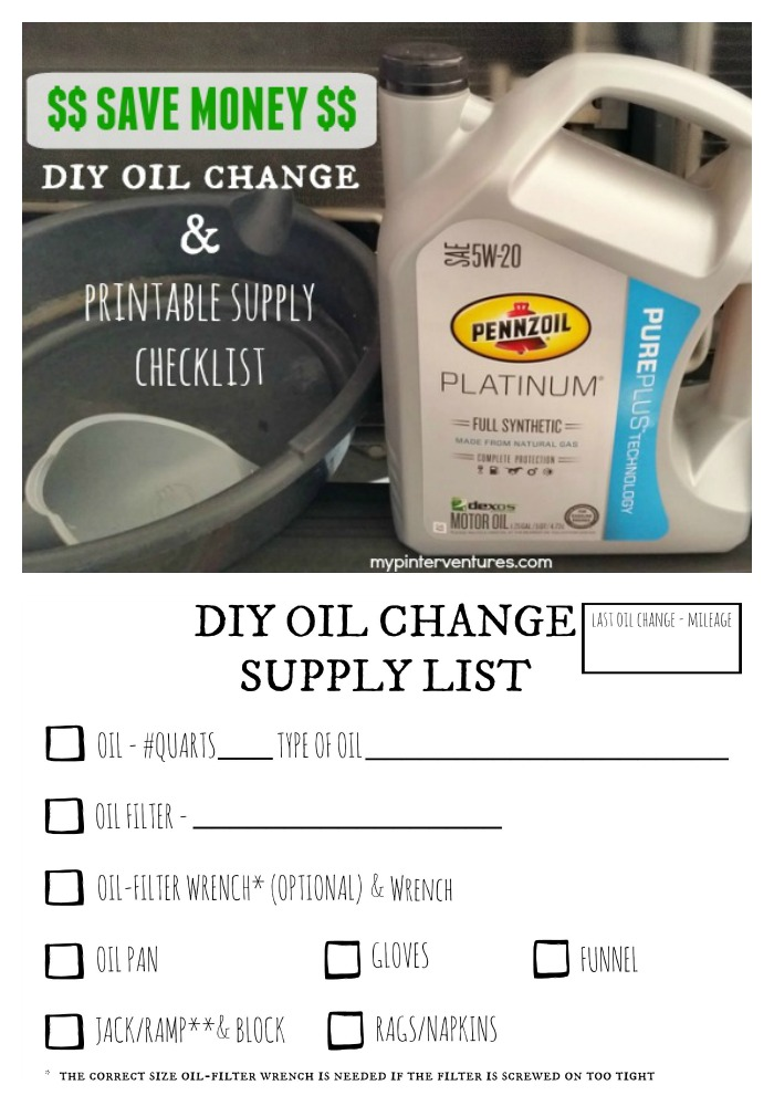 save money diy oil change printable supply checklist my pinterventures. Black Bedroom Furniture Sets. Home Design Ideas