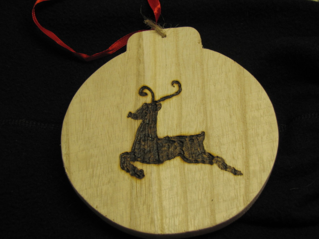 wood burned reindeer ornament