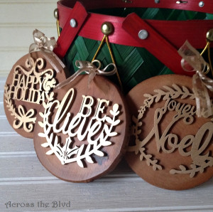 DIY Rustic and Glam Wood Ornaments
