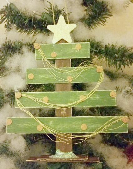 Rustic tree popsicle stick decorated