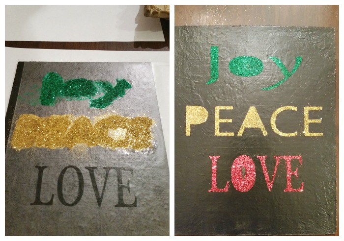 Christmas Glitter Wall Art glitter words