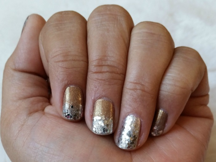 Gold and Silver Glitter Nails