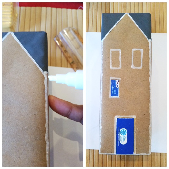 Faux ice the Gingerbread Cookie Box Houses