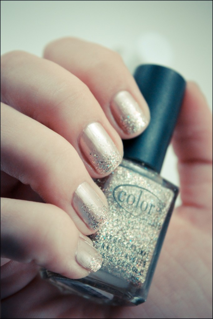 Pale pink and glitter nails