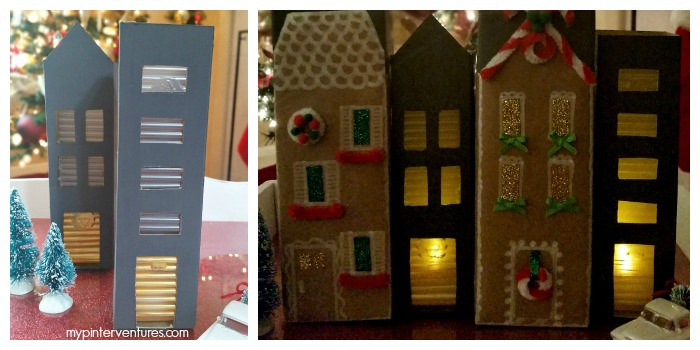 Lit chalkboard cookie box houses #GiftDeliciously