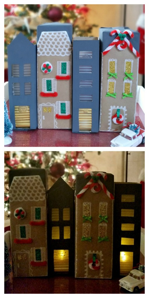 Lit cookie box houses