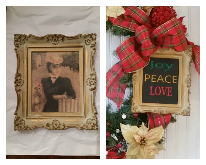 Thrift Store Swap Christmas Glitter Wall Art