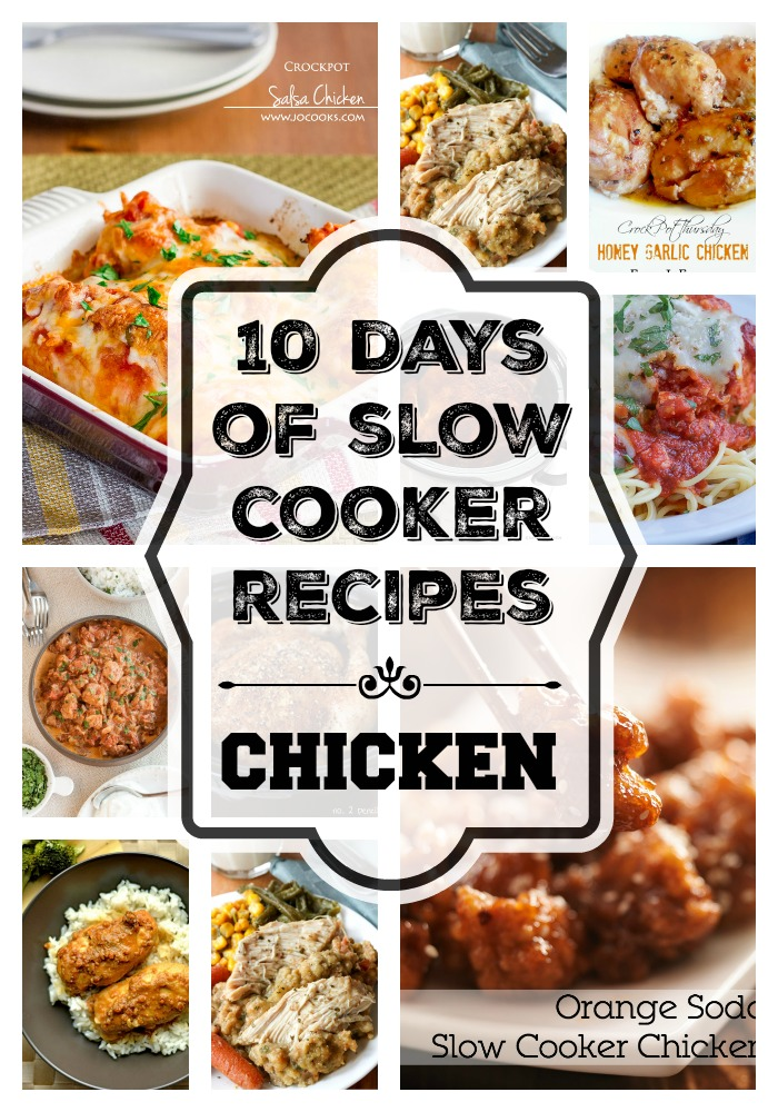 10 Days of Slow Cooker Recipes - Chicen. 10 Easy slow cooker chicken recipes that are simple and use minimal ingredients.