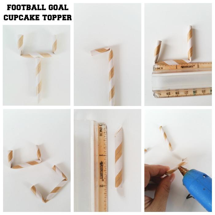 Football goal cupcake topper
