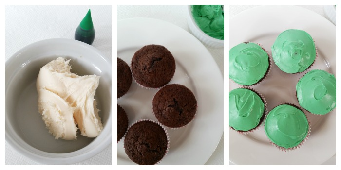 Green frosting - Simple Football Cupcakes