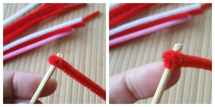 Wrap pipe cleaner around stick