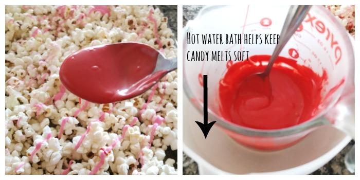 Candy Melts onto Popcorn
