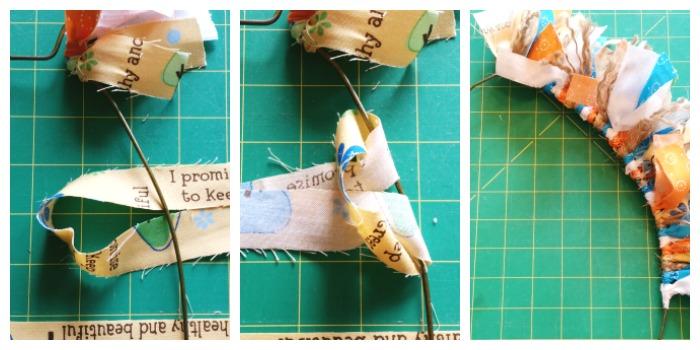 Loop fabric on Easter Egg Fabric Rag Wreath