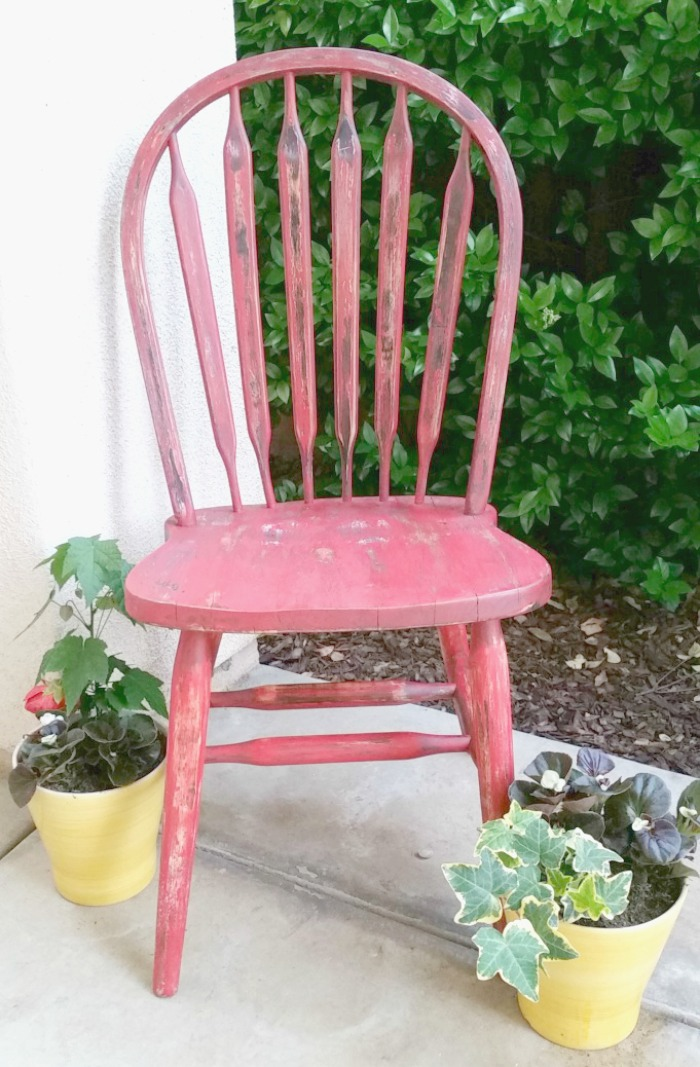 Red weathered chair