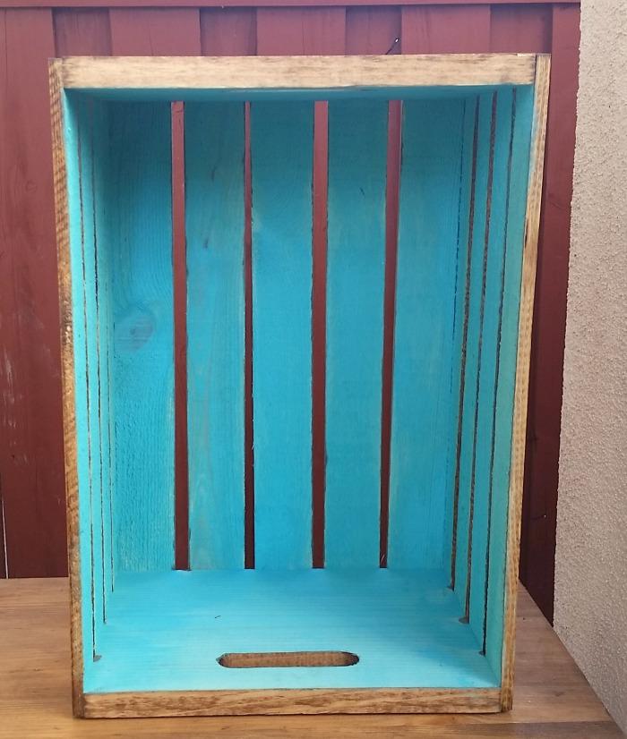 DIY Rustic Mini Crate Table inside paint