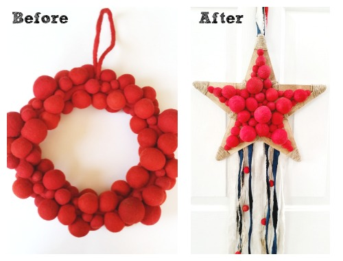 Patriotic Wreath - before & after