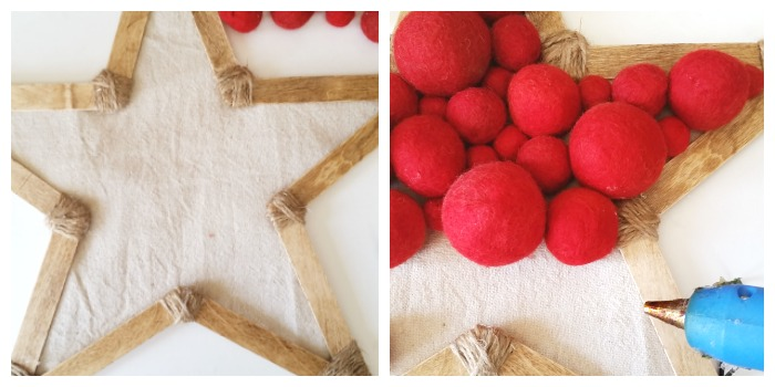 Gluing red felted balls down