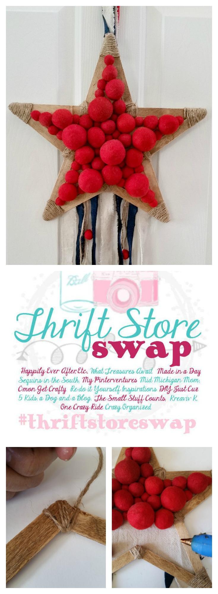 Thrift Store Swap Patriotic Star Wreath