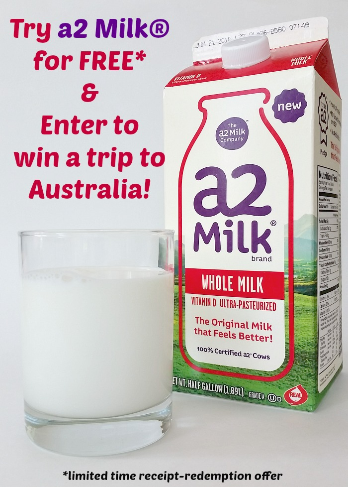 Try a2 Milk for free* and enter to win a trip to Australia. *Limited time receipt redemption
