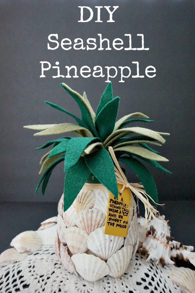 DIY Seashell Pineapple - Upcycled Pickle Jar