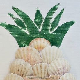 Thrift Store Upcycle – DIY Aloha Seashell Pineapple Sign