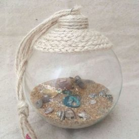 Beach in a Glass Coastal Ornament – Thrift Store Decor Upcycle Challenge