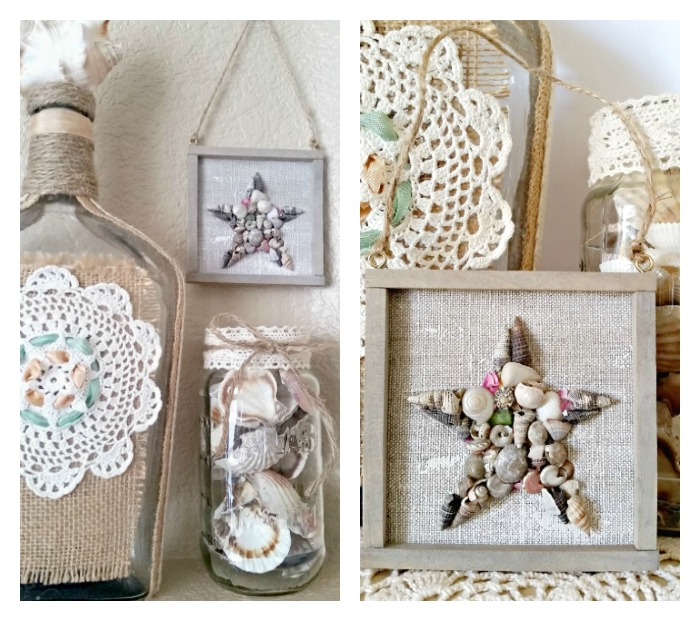 Mini Coastal Seashell Star Wall Art + Ornament collage
