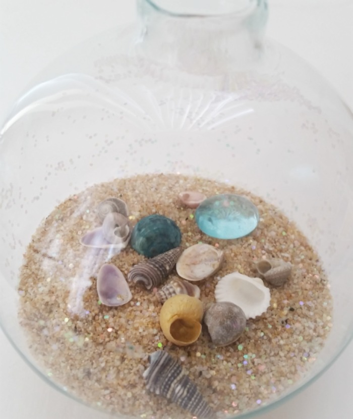 Beach in a glass Coastal Ornament