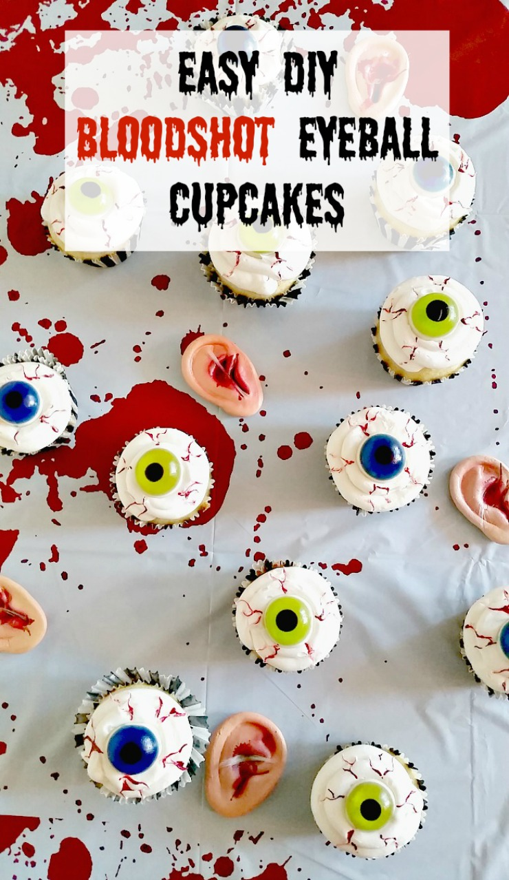 Easy DIY Bloodshot Eyeball Cupcakes - Add white frosting to your favorite cupcake, a gummy eyeball, and use red icing gel for bloodshot lines