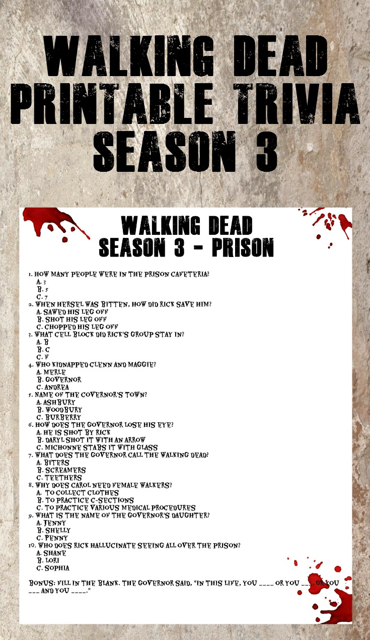 Walking Dead Printable Trivia - Season 3