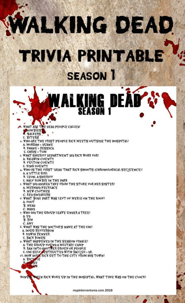 Walking Dead Trivia Printable - Season 1
