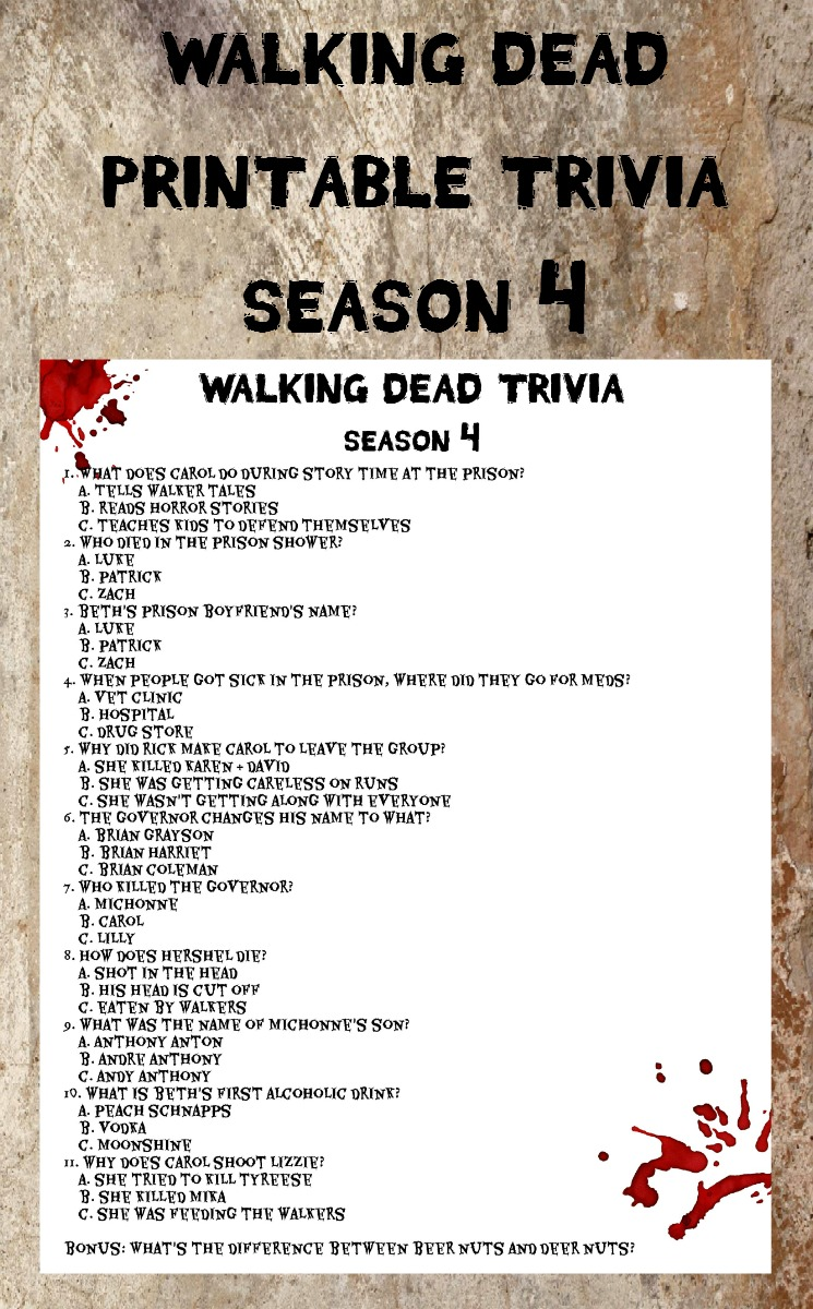 Walking Dead Season 4 Printable Trivia