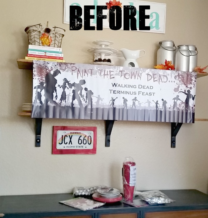 Before shot of Walking Dead party area