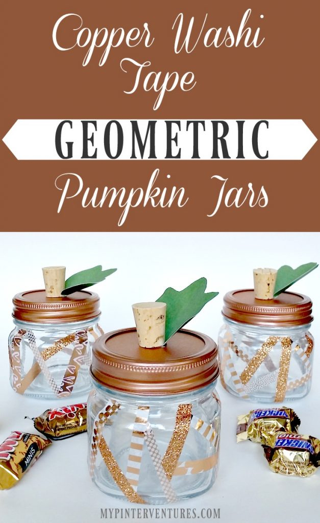 Copper Washi Tape Geometric Pumpkin Jars