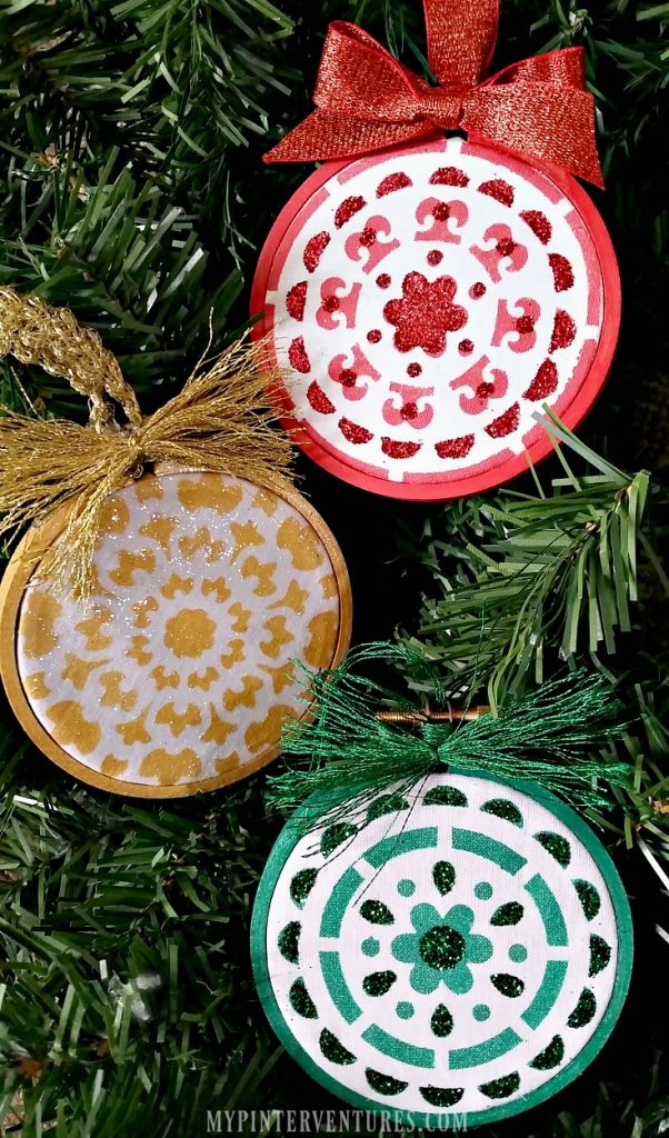 Stenciled Embroidery Hoop Ornaments