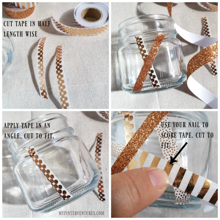 Applying washi tape to Geometric Pumpkin Jars