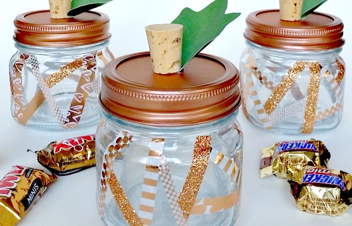 Washi tape geometric pumpkin jars