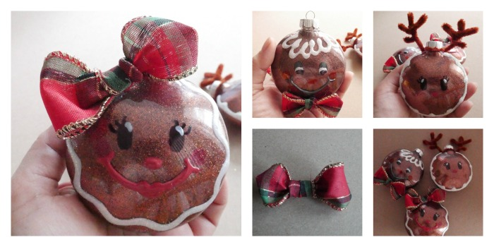 DIY Glitter Gingerbread Ornaments with bows