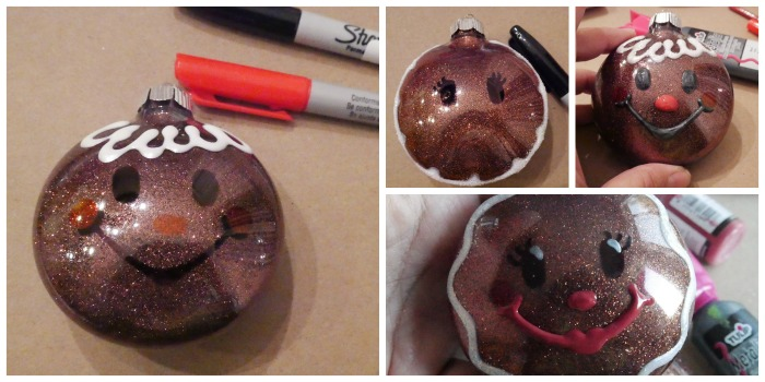 DIY Glitter Gingerbread Ornaments faces