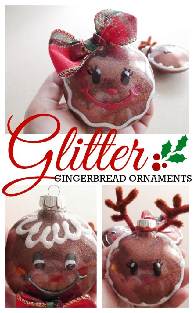 DIY Glitter Gingerbread Ornaments craft tutorial - gingerbread girl, boy, and reindeer