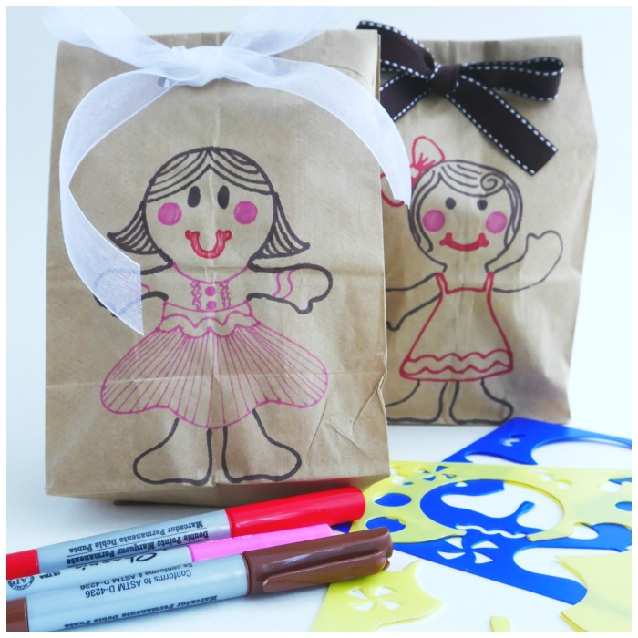 Gingerbread paper bag gift wrap people