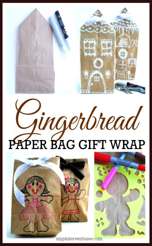 Gingerbread paper bag gift wrap