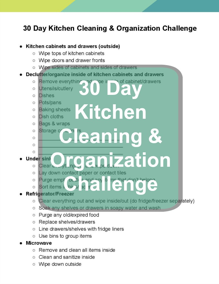 30 Day Kitchen Cleaning & Organization Challenge