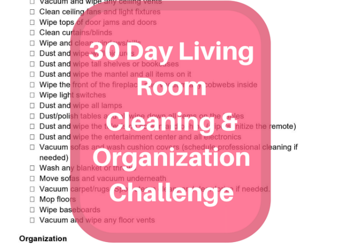 30 Day Living Room Cleaning & Organization Challenge