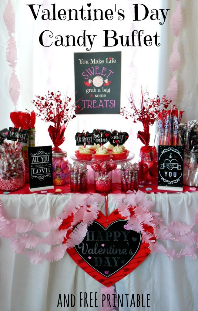 Valentine's Day Candy Buffet with free printable