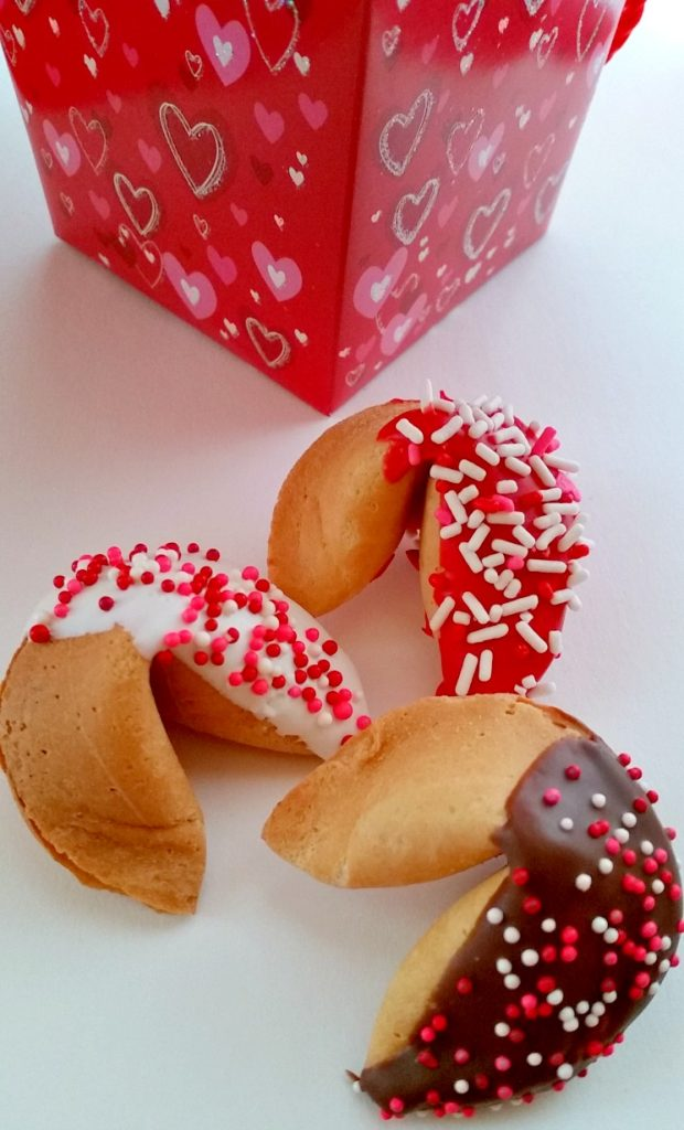 Chocolate Dipped Valentine Fortune Cookies
