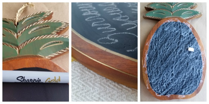 wood pineapple chalkboard gold
