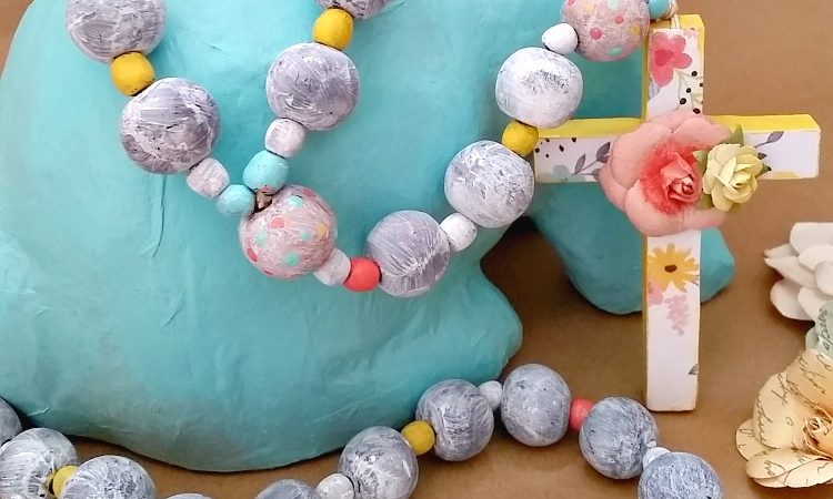 Colorful Wood Painted Rosary – Thrift Store Decor Upcycle Challenge