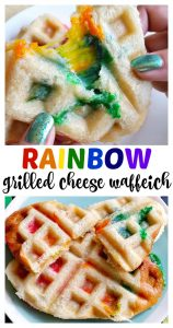 Rainbow Grilled Cheese Waffleich Sandwich for St. Patrick's Day