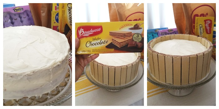 Wafers on Easter Basket Cake